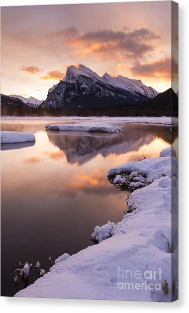 Vermillion Lakes In Banff National Park Canvas Print by Ginevre Smith