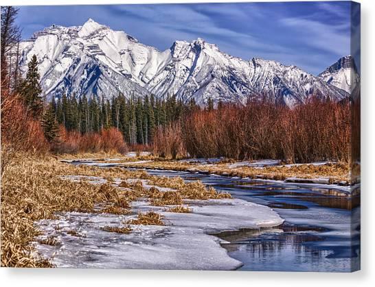 Vermillion Lakes In Winter Canvas Print
