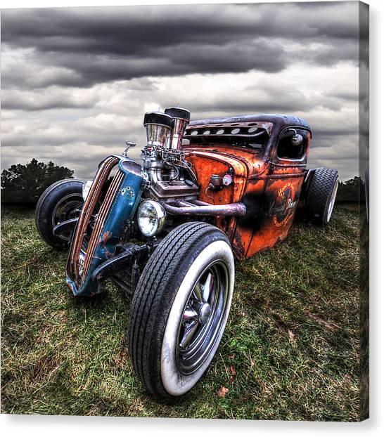 Street Rods Canvas Print - Vermin's Diner Rat Rod Front by Gill Billington