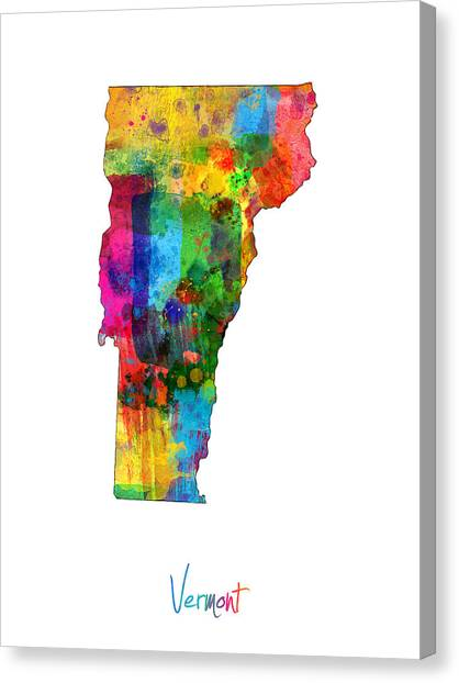 Vermont Canvas Print - Vermont Map by Michael Tompsett
