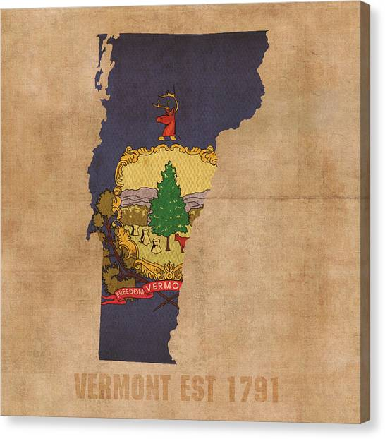 With Canvas Print - Vermont State Flag Map Outline With Founding Date On Worn Parchment Background by Design Turnpike