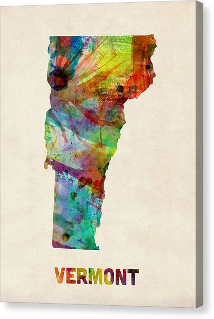 Vermont Canvas Print - Vermont Watercolor Map by Michael Tompsett
