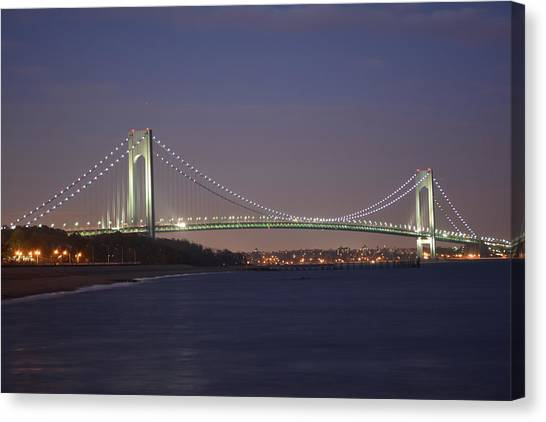 Verrazano Narrows Bridge At Night Canvas Print