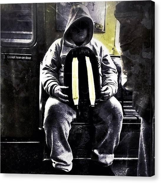 Backpacks Canvas Print - Version 2...#nyc #nycsubway #brooklyn by Casey Jones