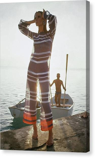Veruschka Von Lehndorff Wearing Jumpsuit Canvas Print by Louis Faurer