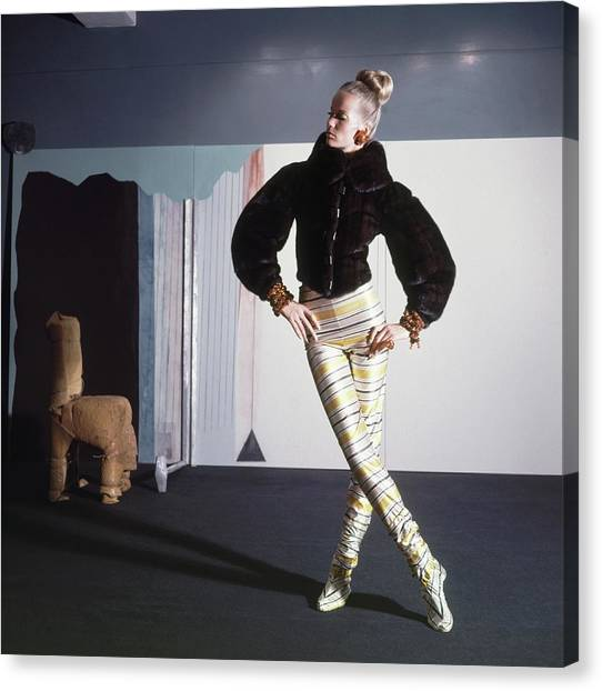 Suga Canvas Print - Veruschka Wearing Fur Jacket And Striped Tights by Horst P. Horst
