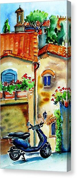 Vespa In Tuscany  Canvas Print by Trudi Doyle