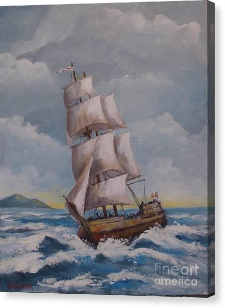 Vessel In The Sea Canvas Print