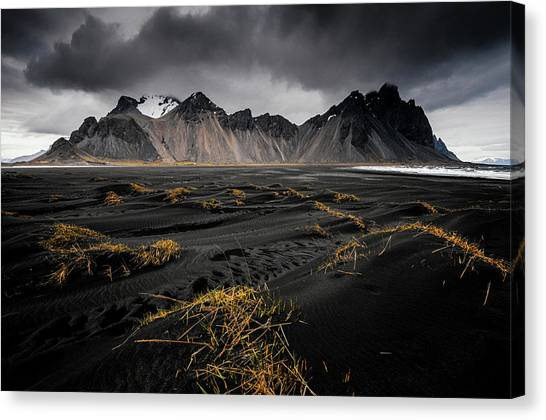 Black Sand Canvas Print - Vestrahorn by Jeff Moreau