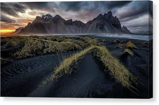 Black Sand Canvas Print - Vestrahorn Sunset by Sus Bogaerts