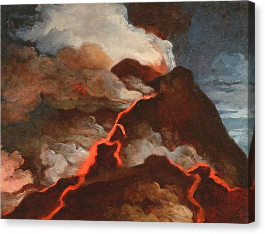 Mount Vesuvius Canvas Print - Vesuvius In Eruption, 1772 by Anicet-Charles Lemonnier