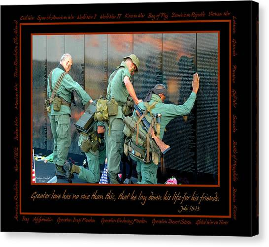 Air Force Canvas Print - Veterans At Vietnam Wall by Carolyn Marshall