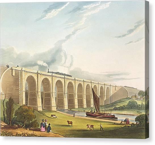 Train Canvas Print - Viaduct Across The Sankey Valley, Plate by Thomas Talbot Bury