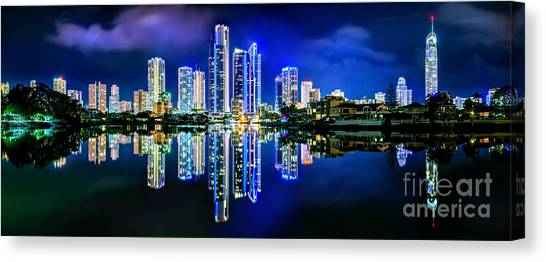 Symmetrical Canvas Print - Gold Coast Shines by Az Jackson