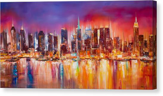 Abstract Skyline Canvas Print - Vibrant New York City Skyline by Manit
