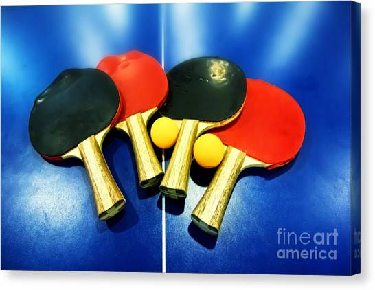 Tennis Racquet Canvas Print - Vibrant Ping-pong Bats Table Tennis Paddles Rackets On Blue by Beverly Claire Kaiya