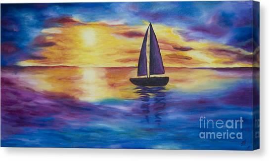 Glowing Sunset Sail Canvas Print