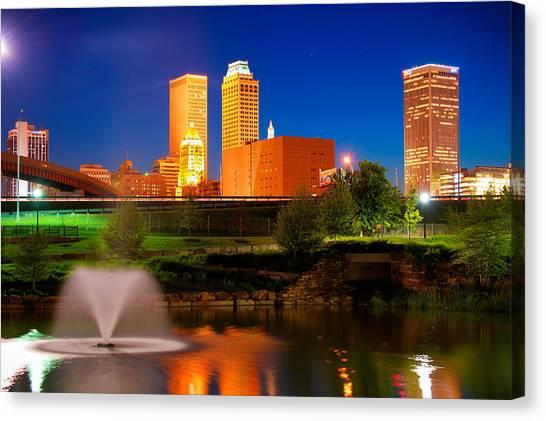 Centennial Canvas Print - Vibrant Tulsa Skyline by Gregory Ballos