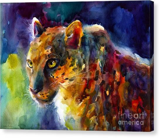 Watercolor Pet Portraits Canvas Print - Vibrant Watercolor Leopard Wildlife Painting by Svetlana Novikova