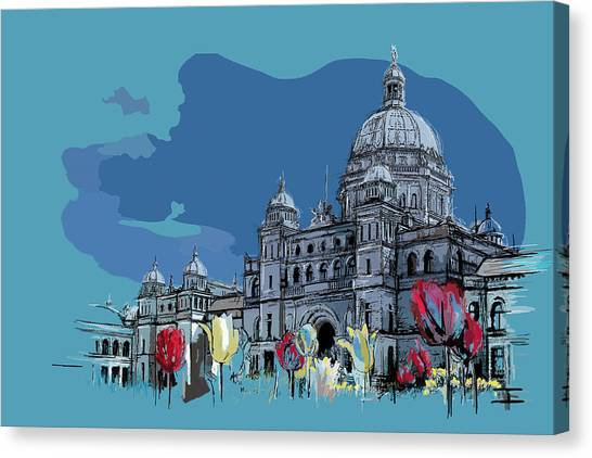 Vancouver Skyline Canvas Print - Victoria Art 007 by Catf