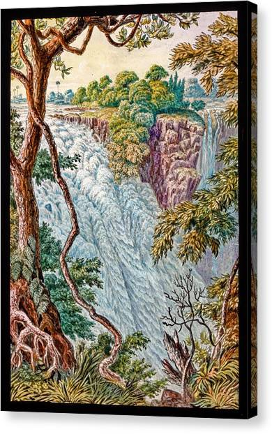 Victoria Falls Canvas Print - Victoria Falls And Island by Gustoimages/science Photo Libbrary