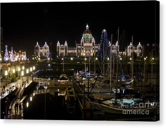 Victoria Harbour At Christmas Canvas Print