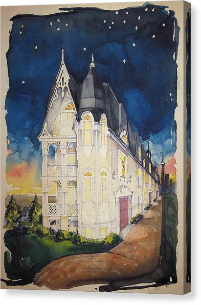 The Victorian Apartment Building By Rjfxx. Original Watercolor Painting. Canvas Print