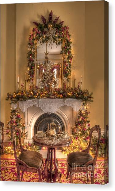 Victorian Christmas By The Fire Canvas Print