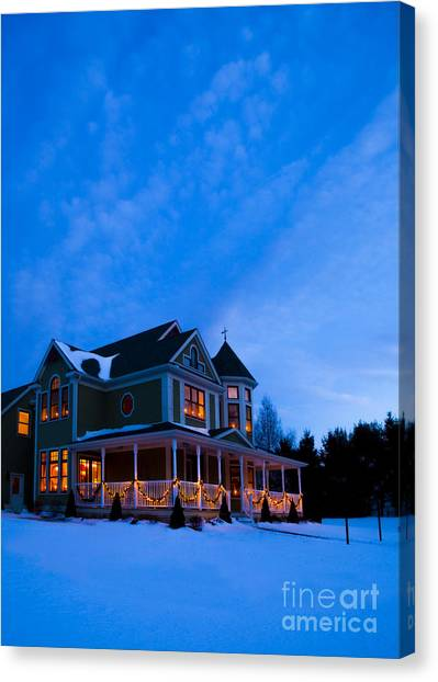 Christmas Lights Canvas Print - Victorian House At Christmastime by Diane Diederich