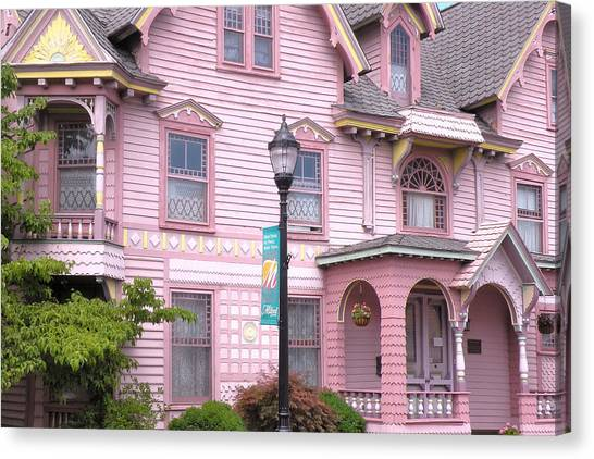 Canvas Print featuring the photograph Victorian Pink House - Milford Delaware by Kim Bemis