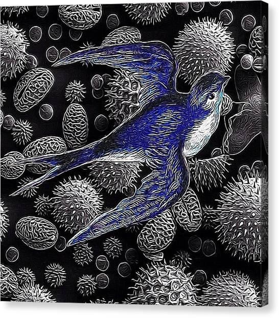 Swallows Canvas Print - Victorian Scrap Of A Swallow Over by Mary Welsch