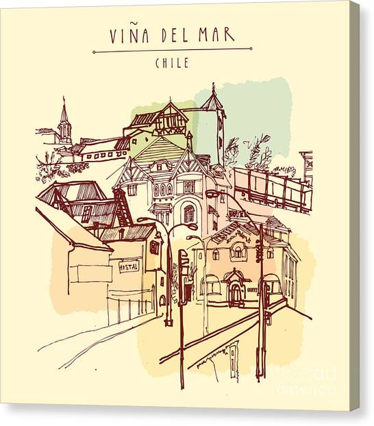 Castle Canvas Print - Victorian Style Architecture In Vina by Babayuka