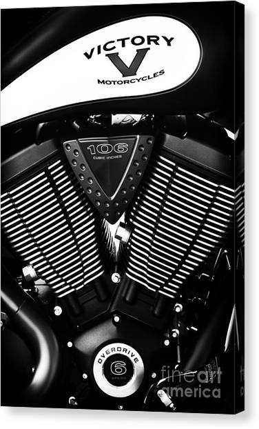 Victory Motorcycle Monochrome Canvas Print