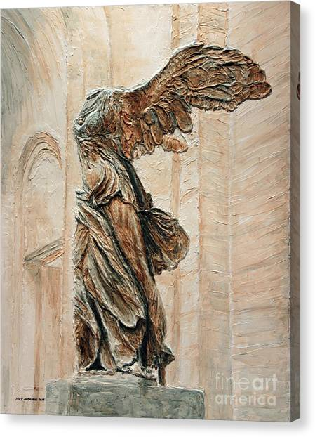 The Louvre Canvas Print - Victory Of Samothrace by Joey Agbayani