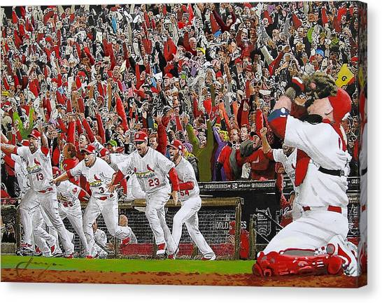 Baseball Canvas Print - Victory - St Louis Cardinals Win The World Series Title - Friday Oct 28th 2011 by Dan Haraga