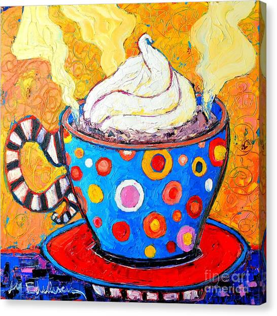 Coffee Canvas Print - Viennese Cappuccino Whimsical Colorful Coffee Cup by Ana Maria Edulescu