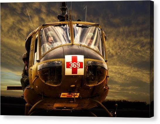Medivac Canvas Print - Vietnam Era Medivac 369 Helicopter by Thomas Woolworth