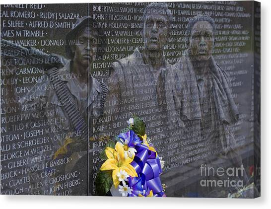Vietnam Veteran Wall And Three Soldiers Memorial Collage Washington Dc_2 Canvas Print