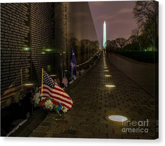 Vietnam Veterans Memorial At Night Canvas Print
