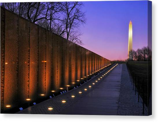 Washington Monument Canvas Print - Vietnam Veterans Memorial At Sunset by Mountain Dreams