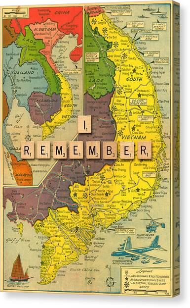 Vietnam War Canvas Print - Vietnam War Map by Gary Grayson