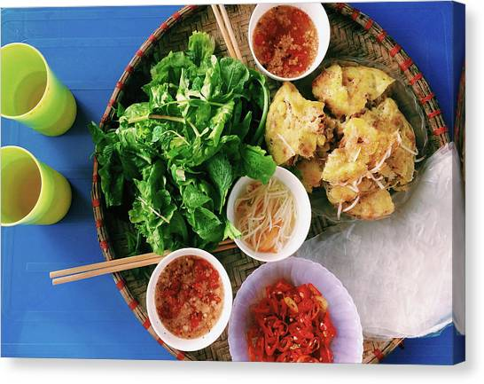 Vietnamese Local Food - Banh Xeo Canvas Print by Quynh Anh Nguyen