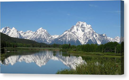 View At Oxbow Bend In Grand Tetons National Park Canvas Print