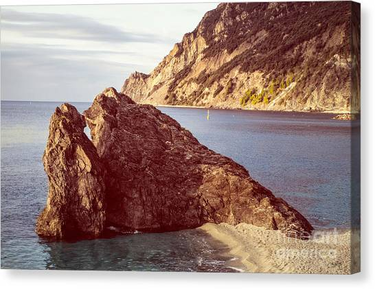View From Beach Of Monterosso Canvas Print