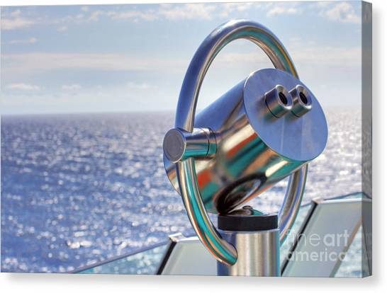 View From Binoculars At Cruise Ship Canvas Print by Lars Ruecker