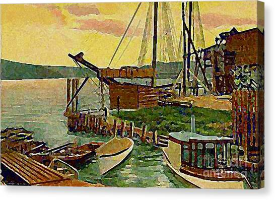 View From Boat Club In Middletown Ct Around 1910 Canvas Print