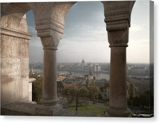 Parliament Canvas Print - View From Fishermans Bastion by Joan Carroll