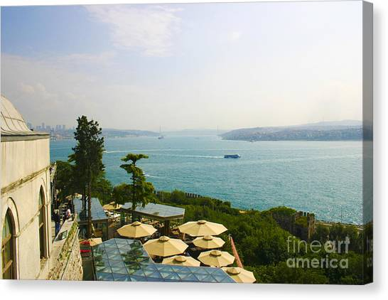 View From Konyali Restaurant To Bosphorus Bridge Connecting Europe And Asia Istanbul Turkey Canvas Print by PIXELS  XPOSED Ralph A Ledergerber Photography