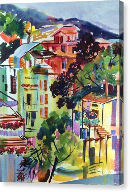 View From Our Hotel Window Cinque Terre Canvas Print by Therese Fowler-Bailey