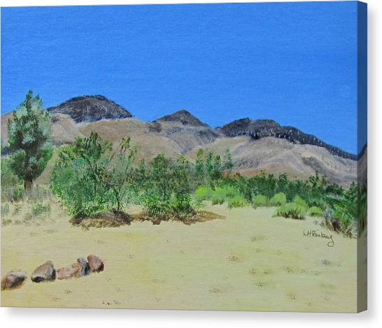 Canvas Print featuring the painting View From Sharon's House - Mojave by Linda Feinberg